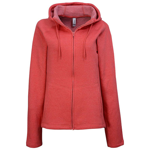 Womens High Neck Zip Hoodie. Peach Pink.