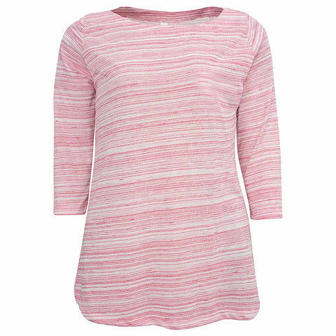 Women Half Sleeve Boat Neck T Shirt: Striped Pink