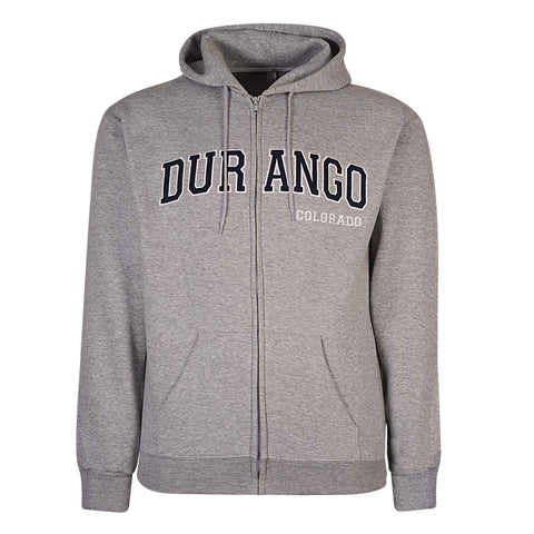 Durango, Colorado. Mens Zip Hoodie. Heather Gray