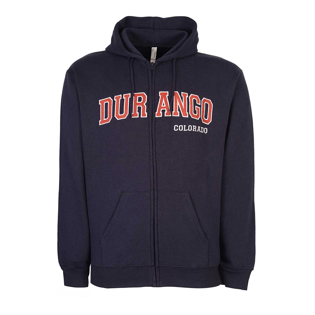 Durango Colorado. Mens Zip Hoodie Navy Blue