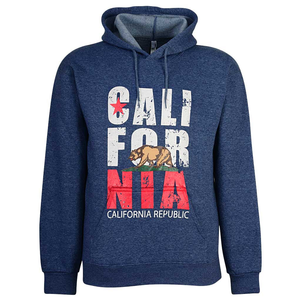 California Flag Bear Pullover Hoodie Blue