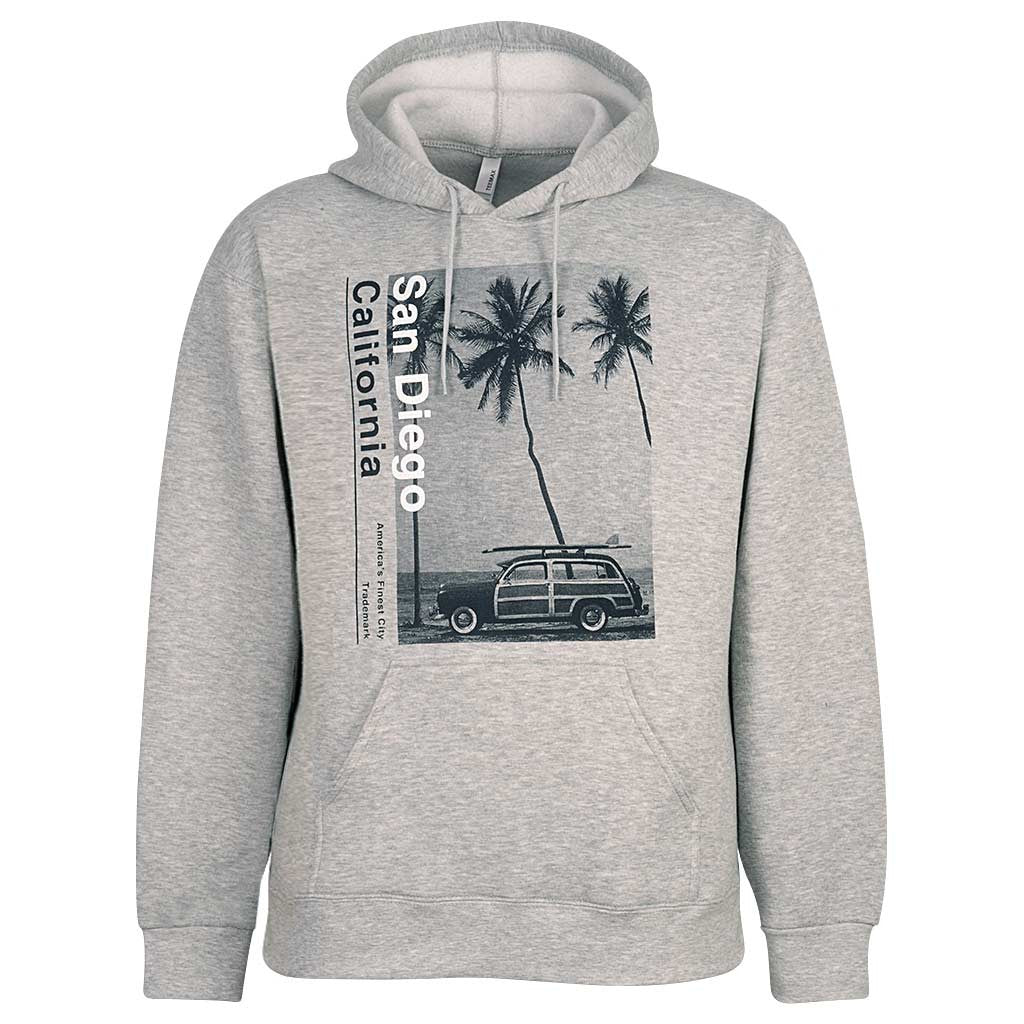 San Diego Pullover Hoodie. Palm Trees. Ash Gray.