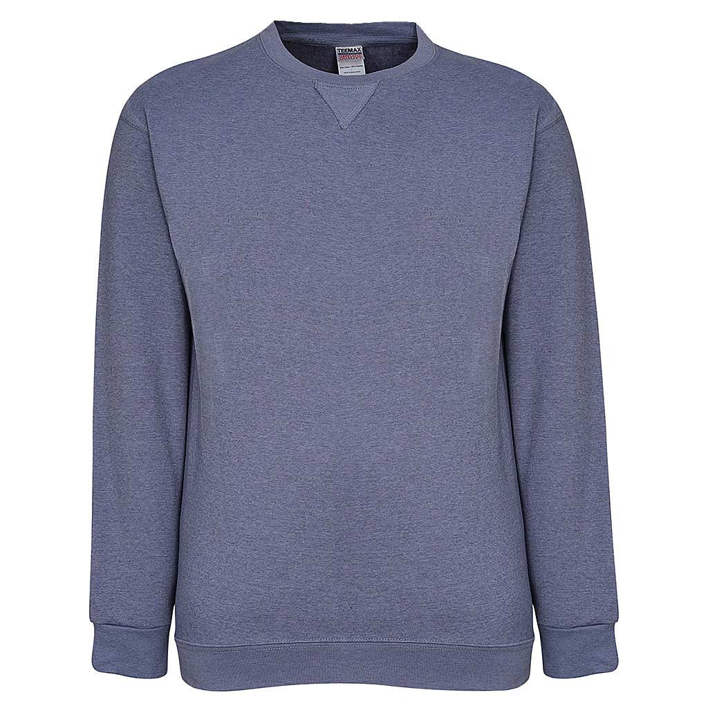Mens Heather Blue Crew Neck Sweatshirt. Gray