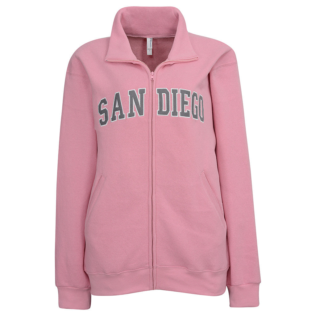 womens jacket. pink gray. san diego