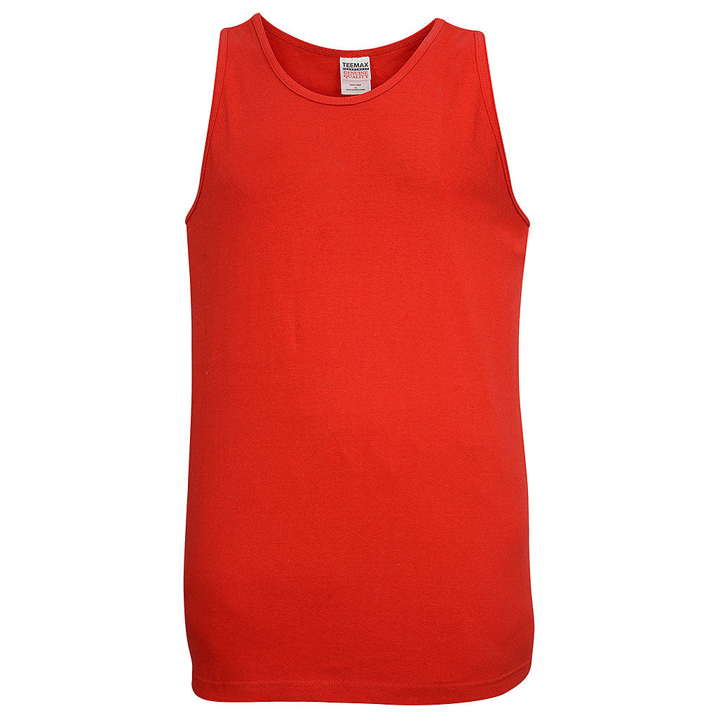 Mens Cotton Tank (RED) - Teemax
