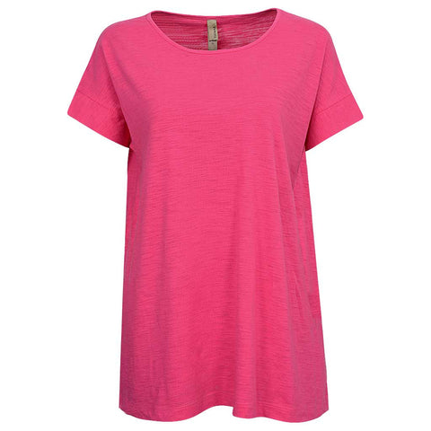Womens Draped T Shirt. Fuchsia Pink
