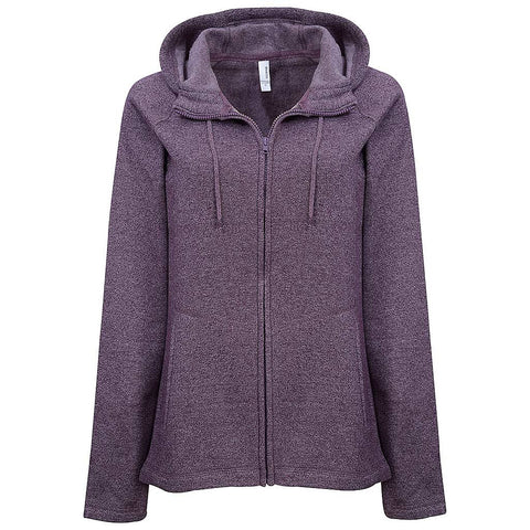 Womens High Neck Zip Hoodie. Purple.