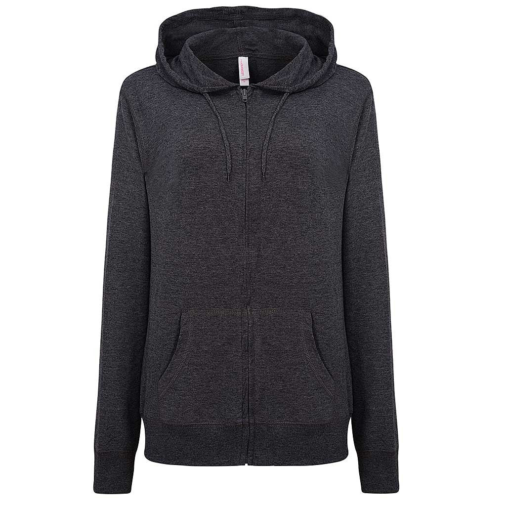 Womens Light Full Zip Hoodie Charcoal Gray. Black