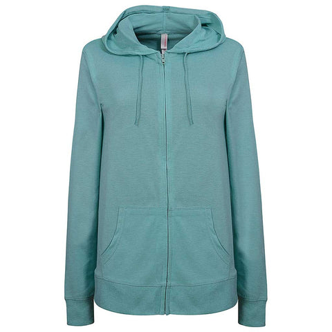 Womens Zip Light Hoodie. Mint Green.