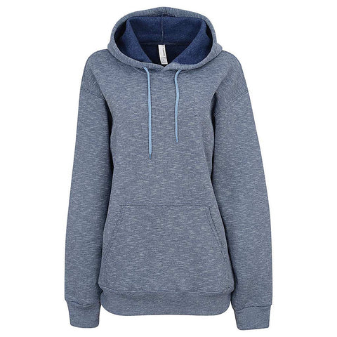 Womens Micro Striped Pullover Hoodie. Navy Blue