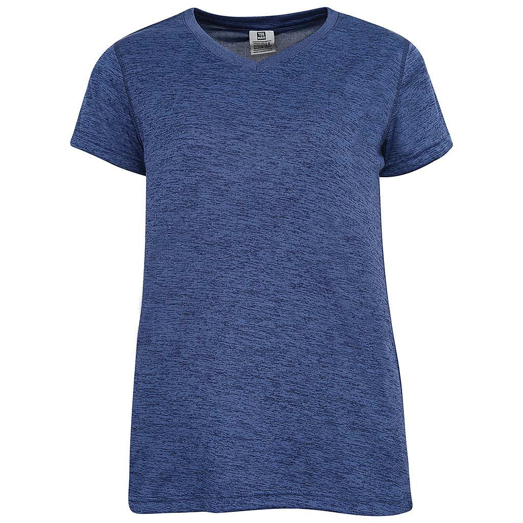 Womens Navy Blue V Neck Gym T-Shirt