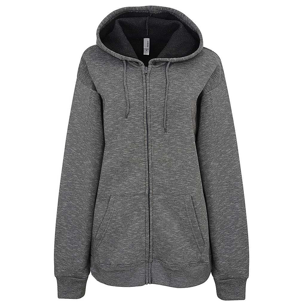 Womens Zip Hoodie Striped Dark Gray