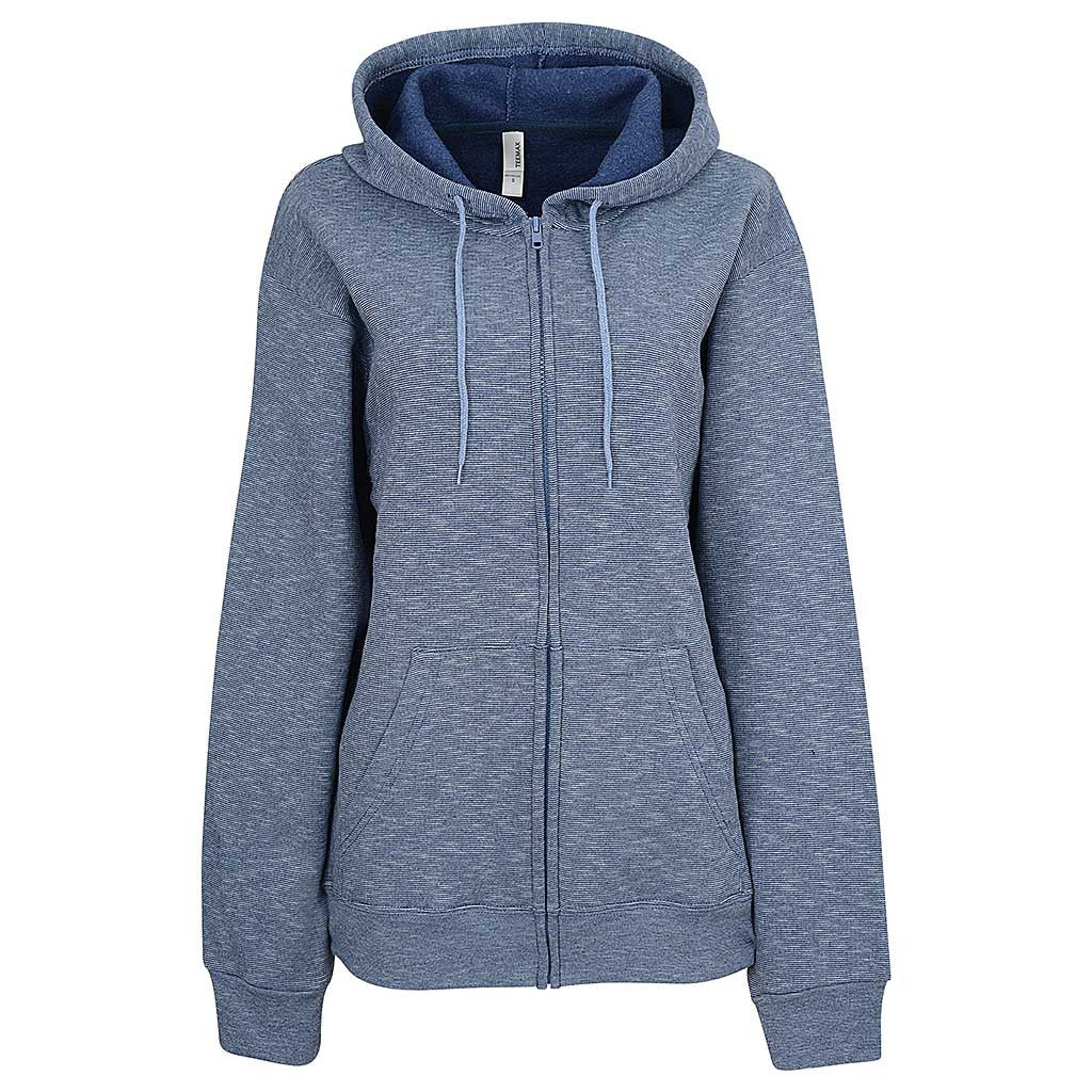 Womens Navy Blue Striped Zip Hoodie