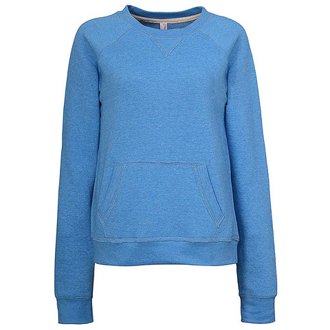 Womens Sky Blue Kangaroo Pocket Crew Neck Sweatshirt