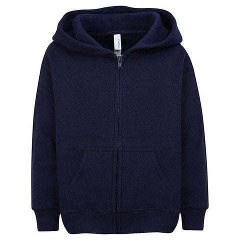 Toddlers Boy Girl Zip Hoodie. Navy Blue