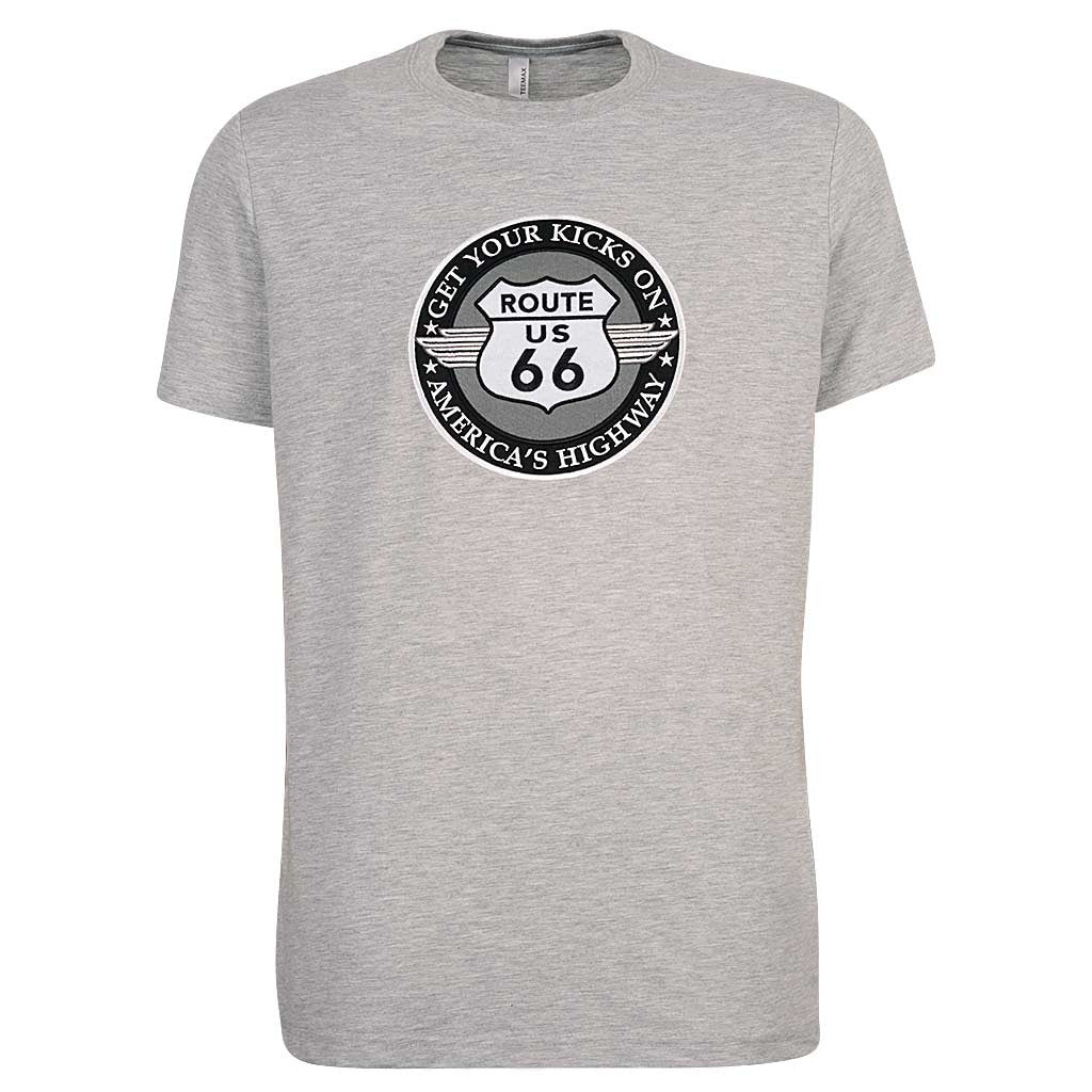 Mens ROUTE 66 T-Shirt. Heather Gray. Ash