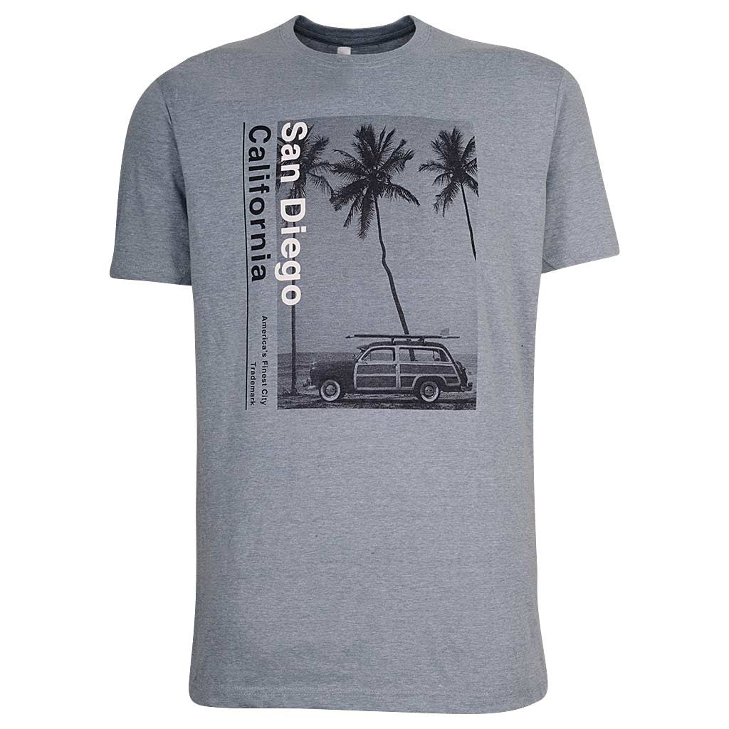 San Diego Gray Blue T Shirt. Palm Trees Woody