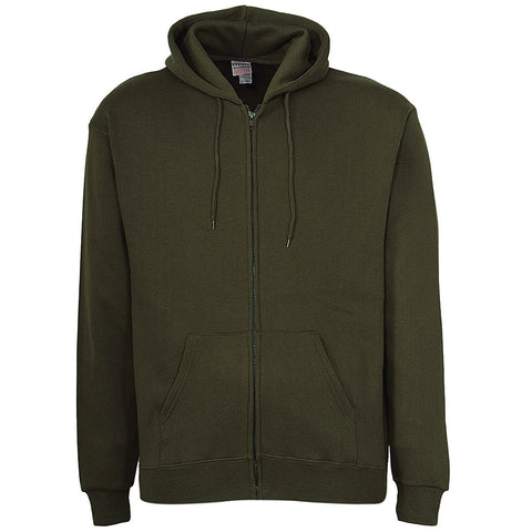 Mens Army Green Zip Up Hoodie