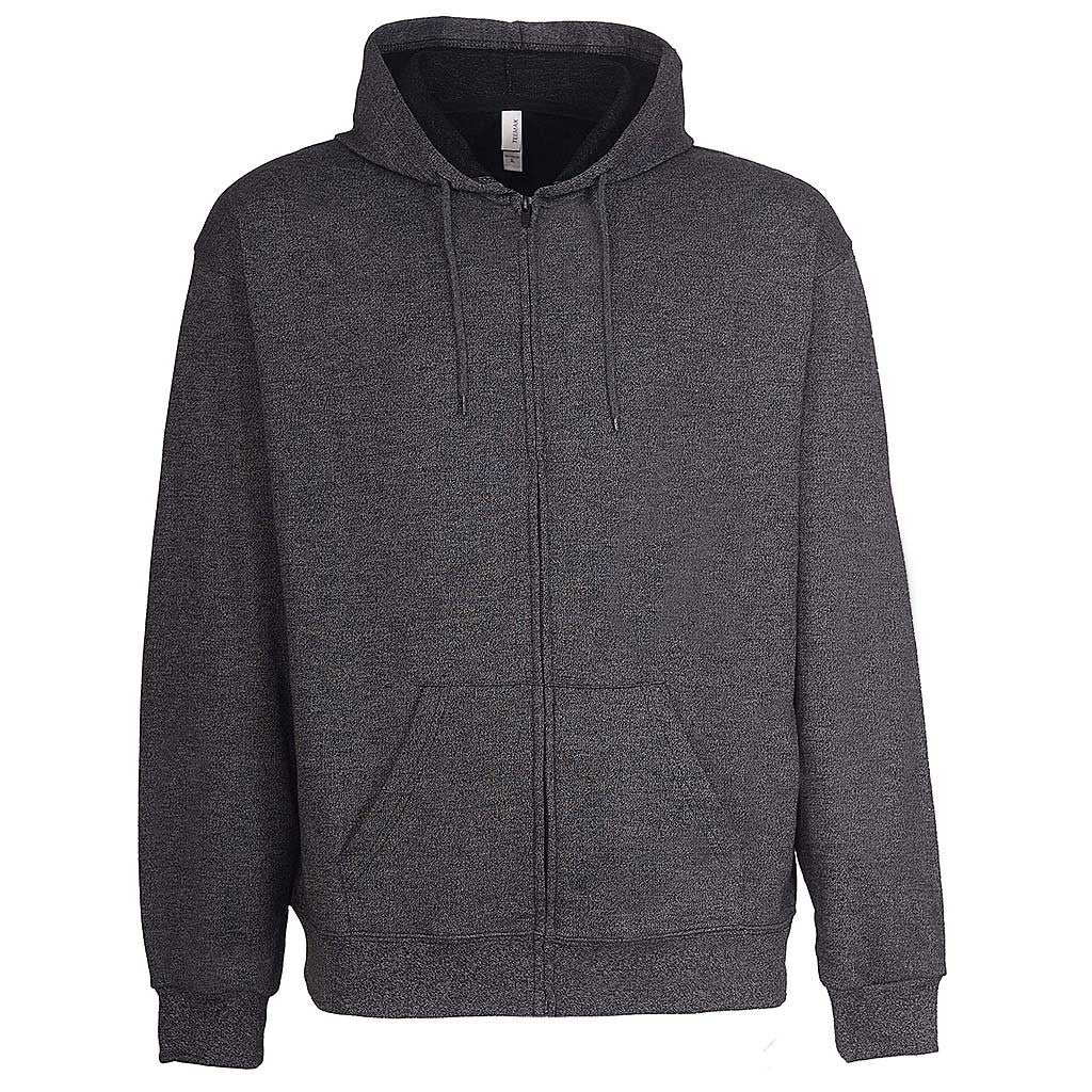Mens Zip Hoodie: Charcoal Dark Gray Black