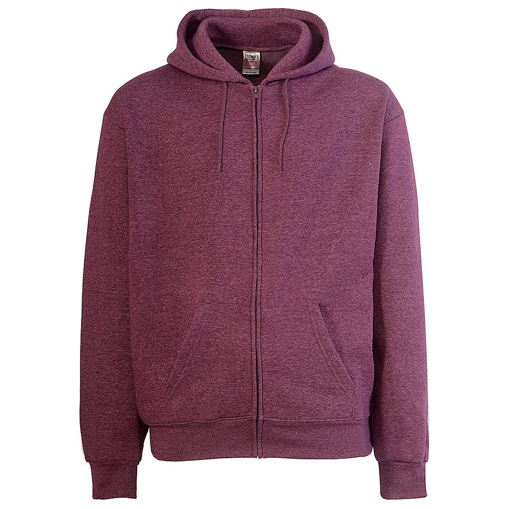 Mens Zip Up Hoodie Heather Purple
