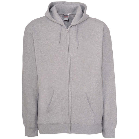 Mens Zip Hoodie Heather Ash Gray
