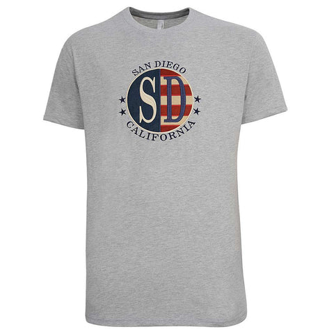 Mens San Diego American Flag T Shirt Gray