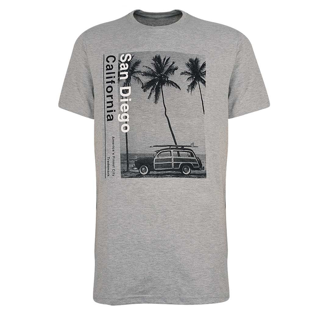 San Diego Woody Graphic T Shirt. Gray