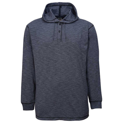 Hooded Long Sleeve Henley: Charcoal Gray