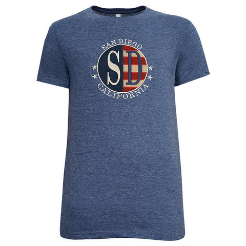 Mens American Flag San Diego T Shirt: Navy Blue
