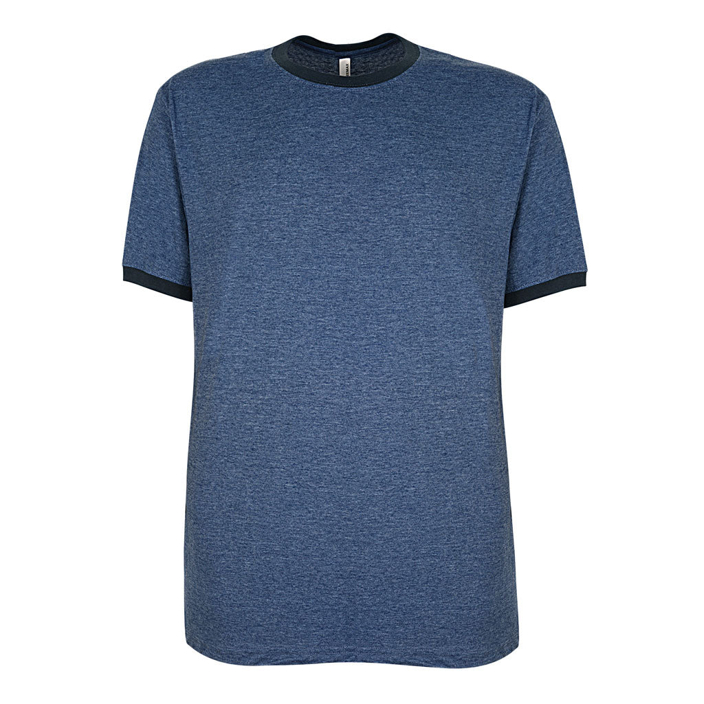 Mens Ringer T Shirt: Navy Blue