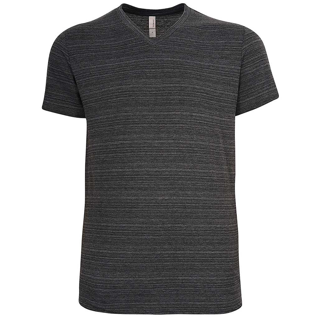 Mens Striped V Neck T Shirt: Black/Charcoal Gray