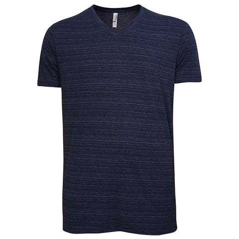 Mens V Neck T Shirt: Striped Navy Blue