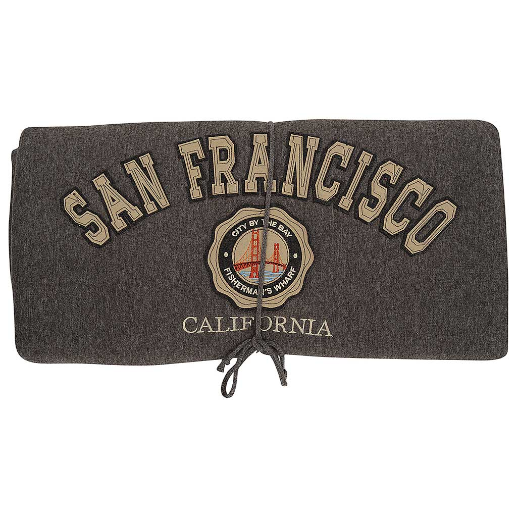 Dark Gray San Francisco Fleece Blanket Bridge