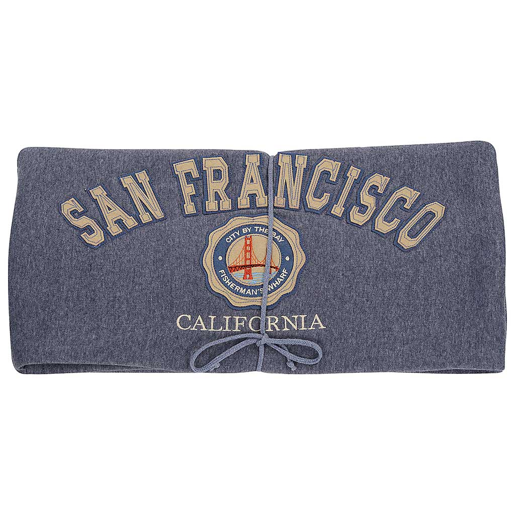 San Francisco Blue Fleece Blanket. Embroidered Patch