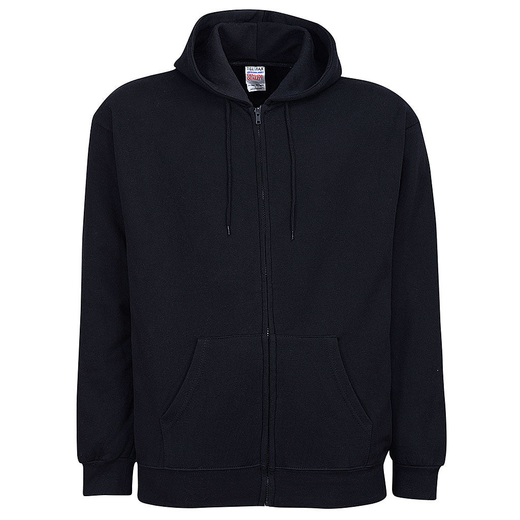 Mens Black Fleece Zip Sweatshirt Hoodie