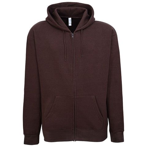 Mens Brown Zip Hooded Sweatshirt