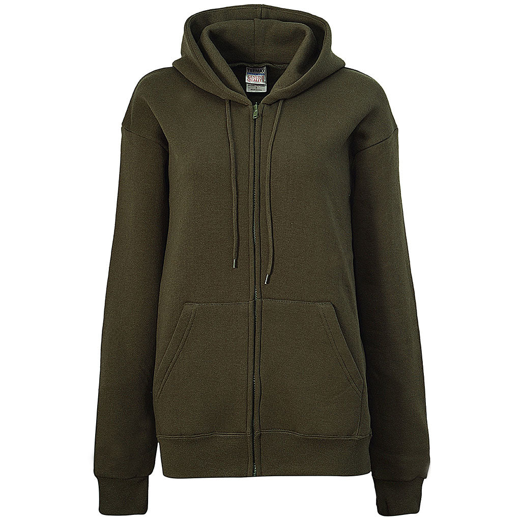 Womens Army Green Zip Up Hoodie