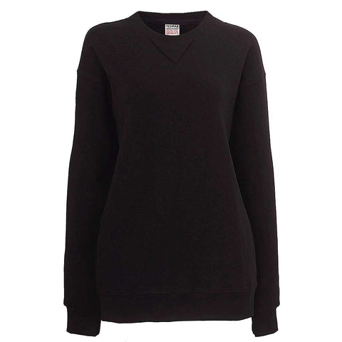 Womens Plain Black Crew Neck Sweatshirt
