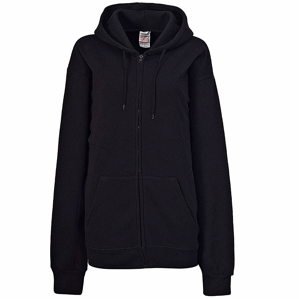Womens Plain Black Zip Up Hoodie
