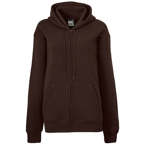 Womens Zip Brown Hoodie Plain Basic