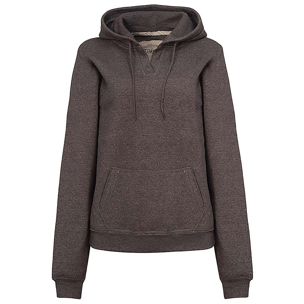 Womens Charcoal Gray V Neck Hoodie Sweatshirt Pullover