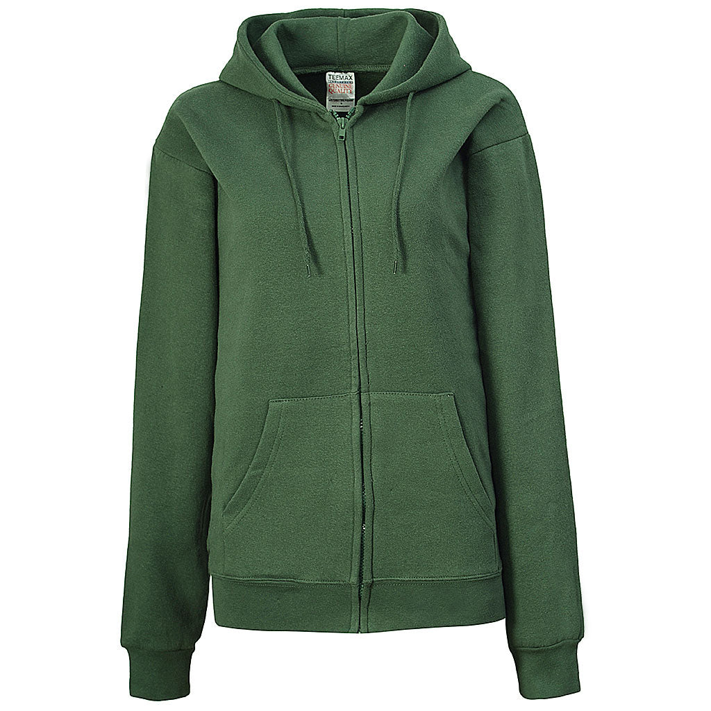 Womens Forest Green Zip Up Hoodie