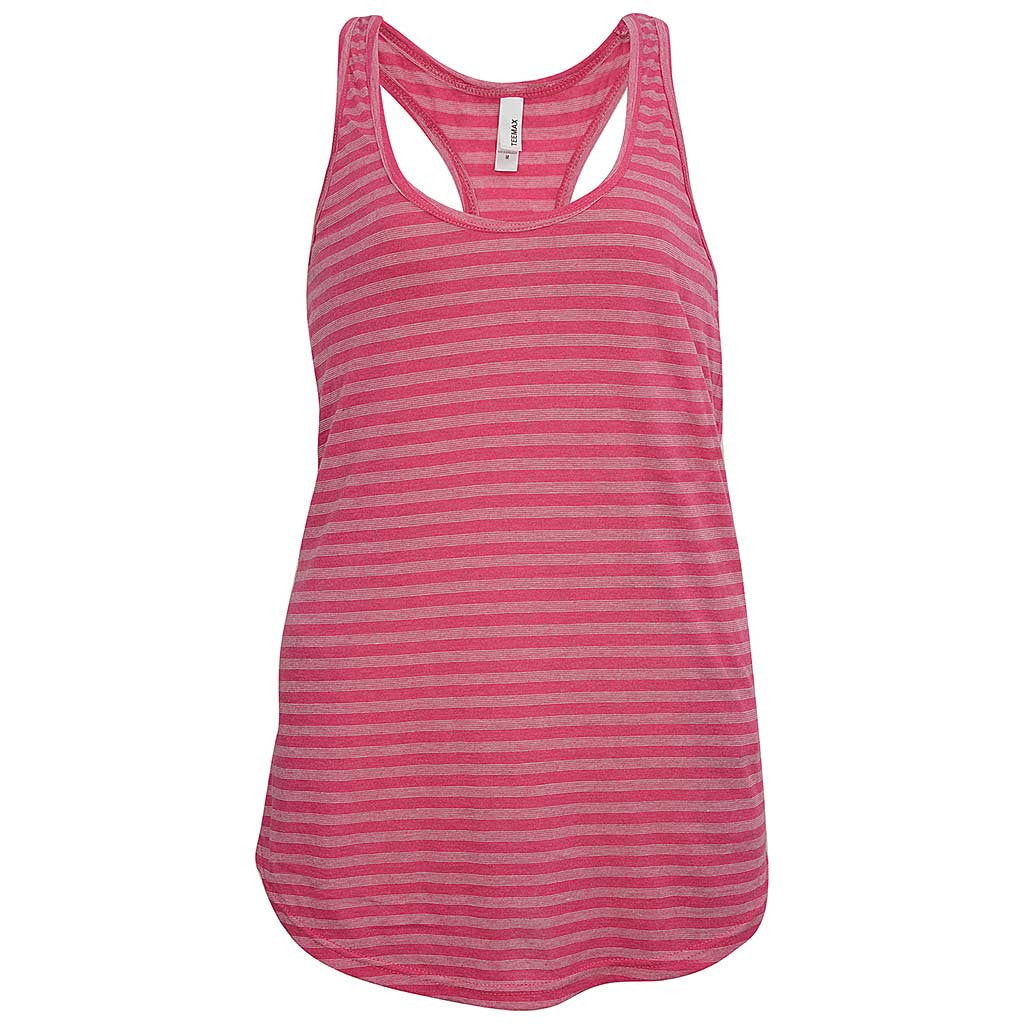 Womens Fuchsia Pink Striped Tank Top: Teemax
