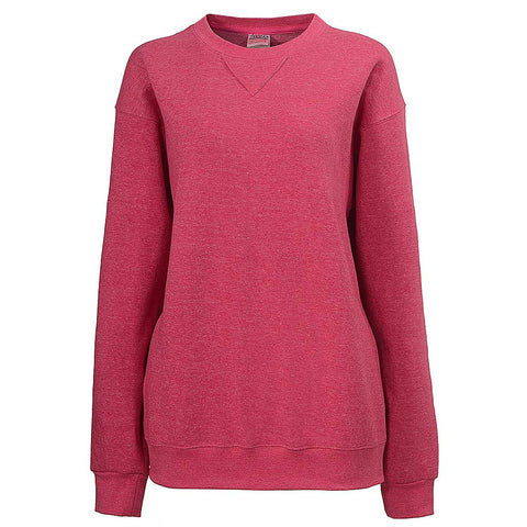 Womens V-Notch Crew Neck Sweatshirt (HEATHER FUCHSIA)