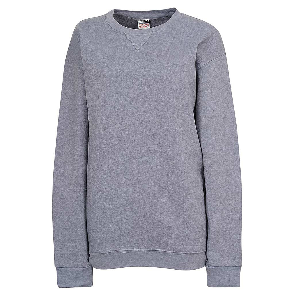 Womens Heather Blue Gray Crew Neck Sweatshirt