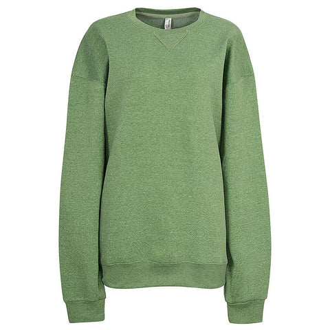 Womens Light Heather Green Crew Neck Sweatshirt