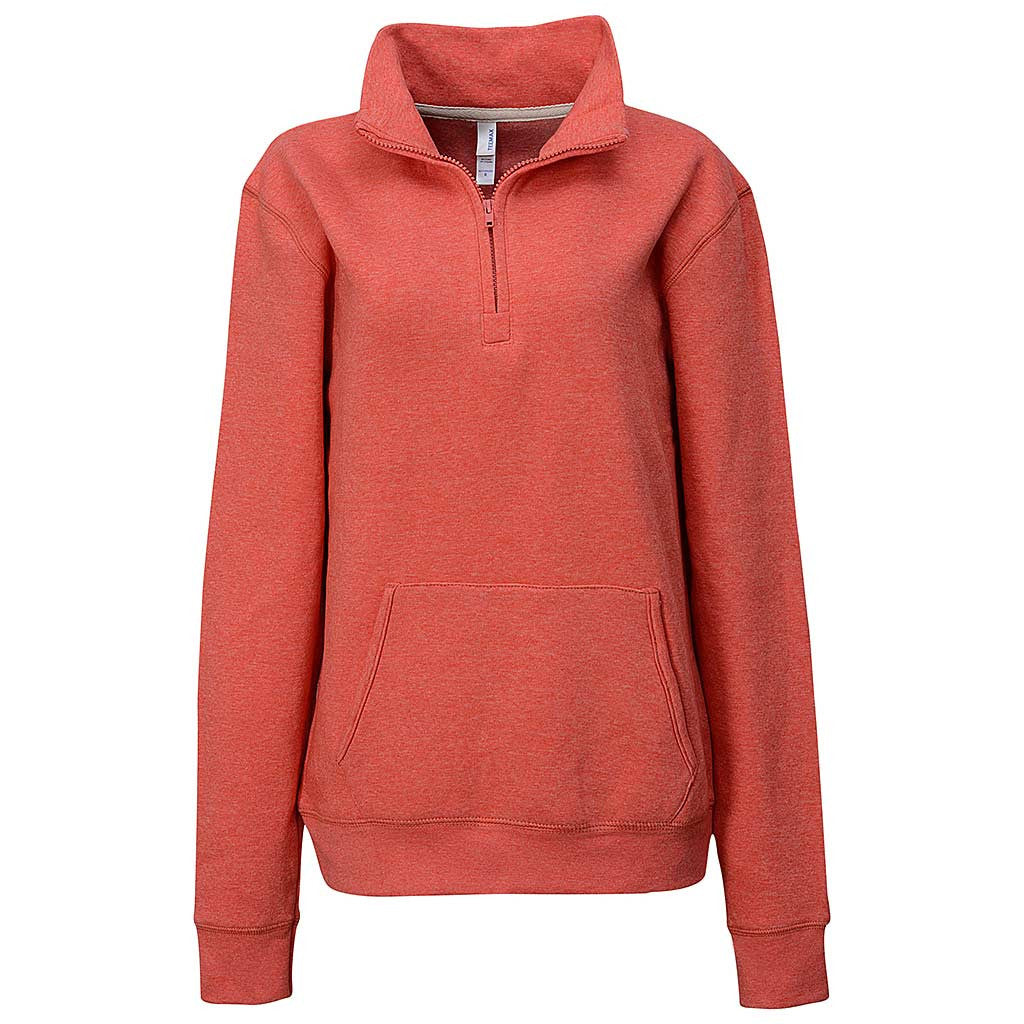 Teemax: Womens Half Quarter Zip Sweatshirt. Orange. Peach.