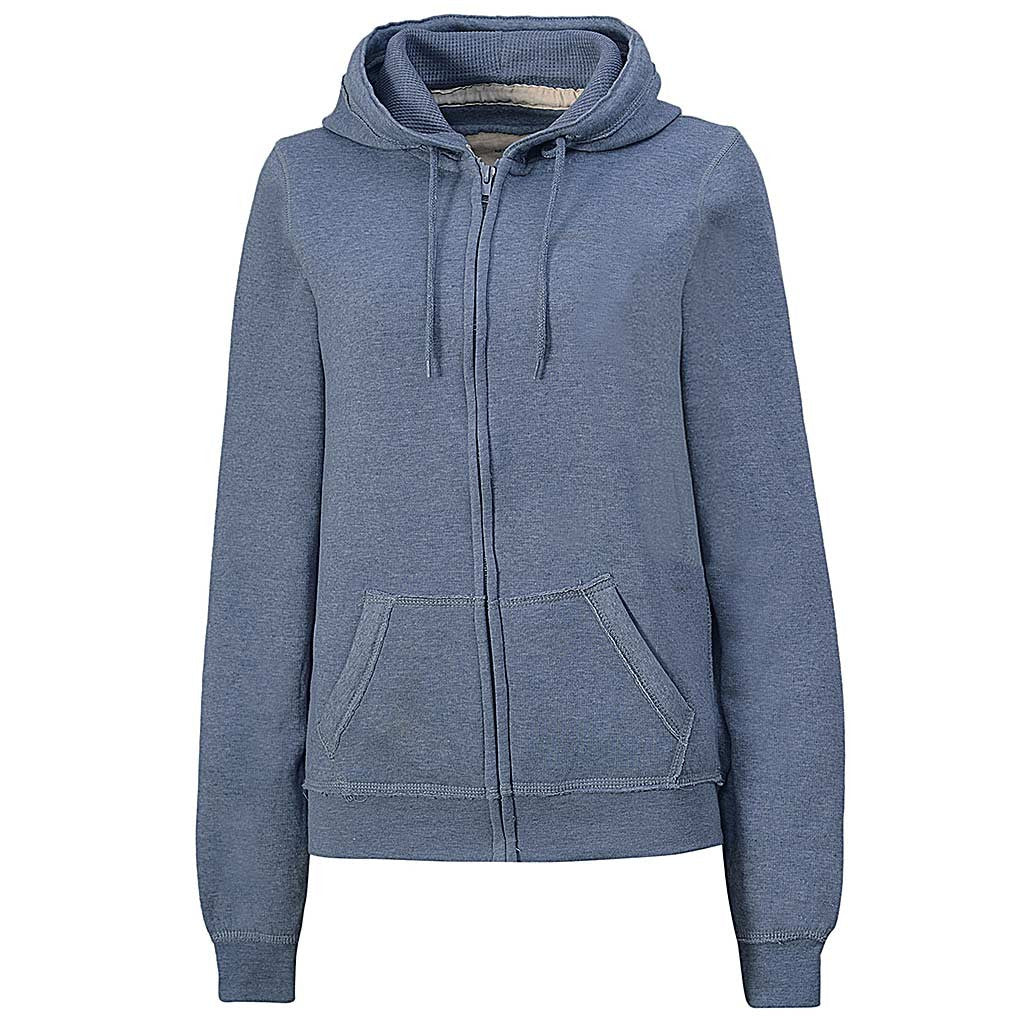 Womens Gray Blue Zip Hoodie Sweatshirt: Teeamx
