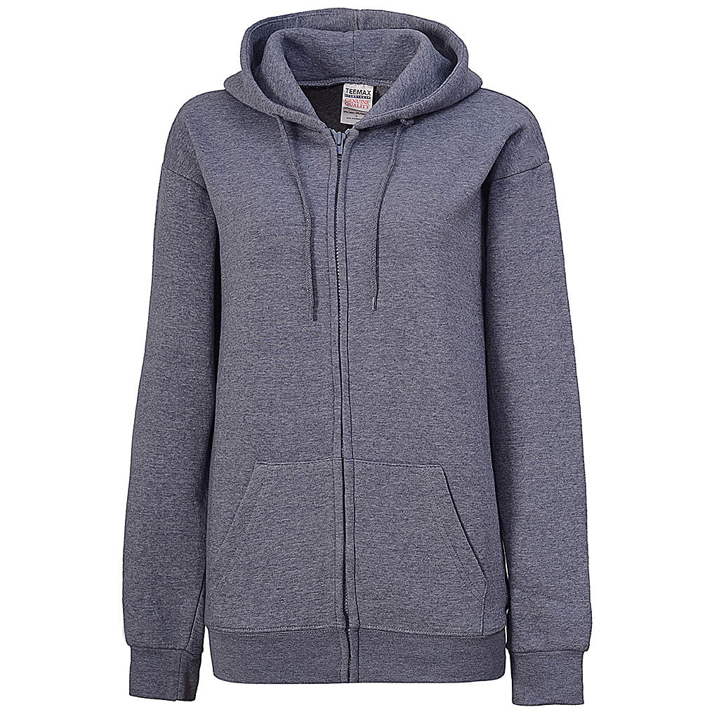 Womens Heather Blue Zip Up Hoodie