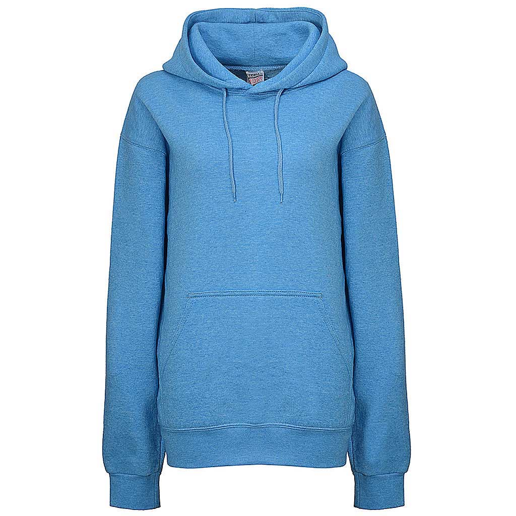Womens Pullover Hoodie. Heather Sky Blue